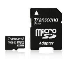 Памет Transcend 16GB microSDHC Class10 w/ adapter, read-write: up to 20MBs, 17MBs