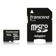 Памет Transcend 16GB MicroSDHC Class10 U1 w/adapter, up to 90MBs, 45MBs